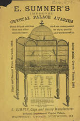 Advert For E. Sumner, Cage & Aviary Manufacturer